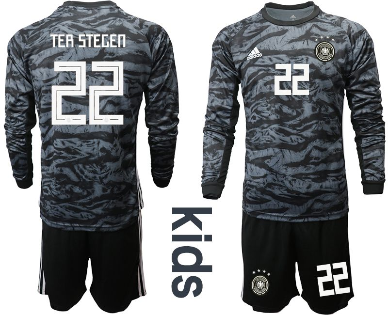 Youth 2019-2020 Season National Team Germany black long sleeve goalkeeper 22 Soccer Jersey