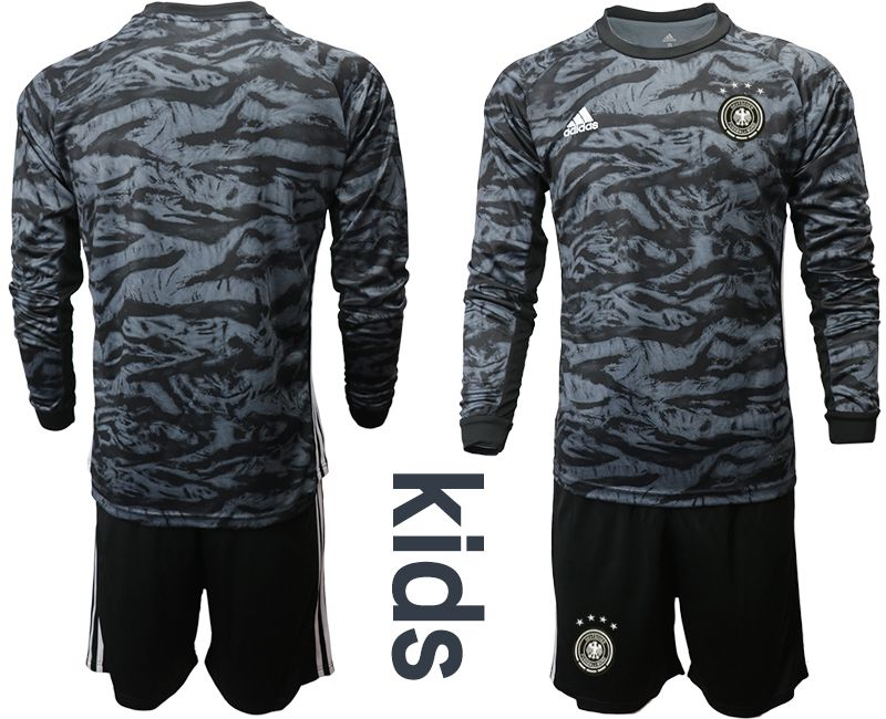 Youth 2019-2020 Season National Team Germany black long sleeve goalkeeper Soccer Jersey