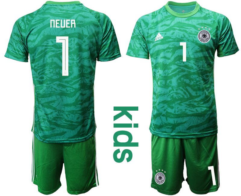 Youth 2019-2020 Season National Team Germany green goalkeeper 1 Soccer Jerseys