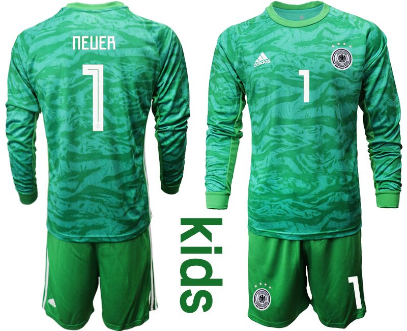 Youth 2019-2020 Season National Team Germany green goalkeeper long sleeve 1 Soccer Jersey