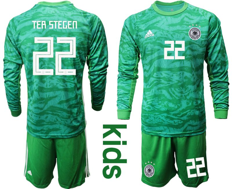 Youth 2019-2020 Season National Team Germany green goalkeeper long sleeve 22 Soccer Jersey