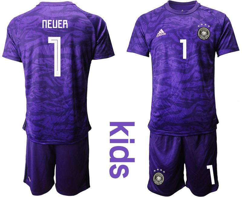 Youth 2019-2020 Season National Team Germany purple goalkeeper 1 Soccer Jerseys