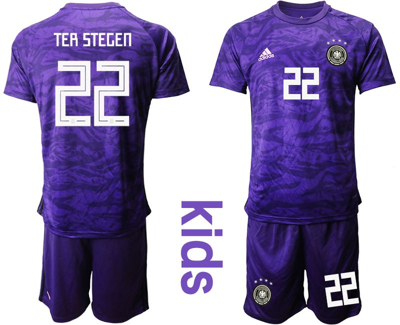 Youth 2019-2020 Season National Team Germany purple goalkeeper 22 Soccer Jerseys