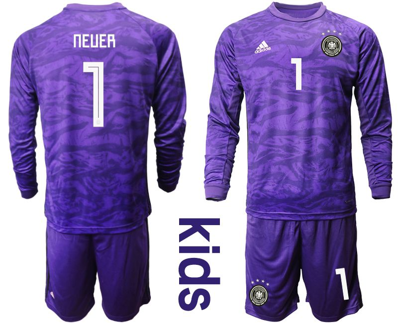 Youth 2019-2020 Season National Team Germany purple long sleeved Goalkeeper 1 Soccer Jersey