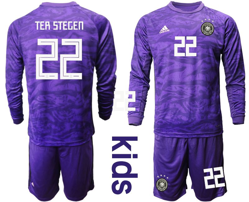 Youth 2019-2020 Season National Team Germany purple long sleeved Goalkeeper 22 Soccer Jersey