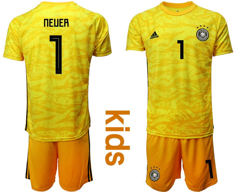 Youth 2019-2020 Season National Team Germany yellow goalkeeper 1 Soccer Jerseys