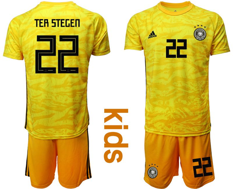 Youth 2019-2020 Season National Team Germany yellow goalkeeper 22 Soccer Jerseys