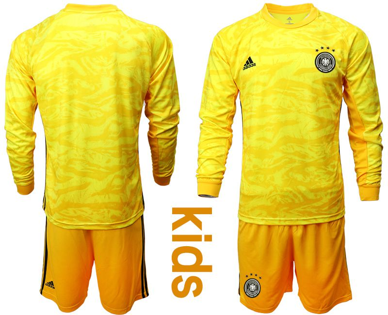 Youth 2019-2020 Season National Team Germany yellow goalkeeper long sleeve Soccer Jersey