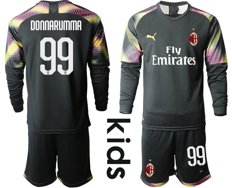 Youth 2019-2020 club AC milan black goalkeeper Long sleeve 99 Soccer Jerseys