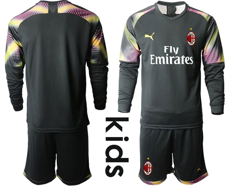Youth 2019-2020 club AC milan black goalkeeper Long sleeve Soccer Jerseys