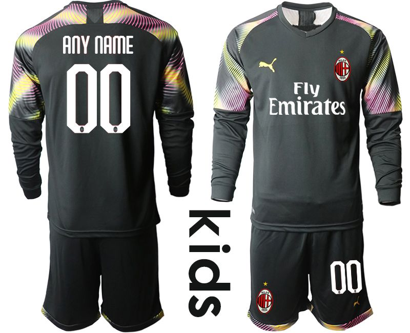 Youth 2019-2020 club AC milan black goalkeeper Long sleeve customized Soccer Jerseys