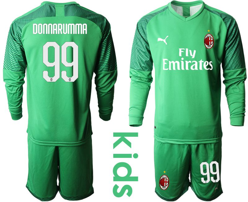 Youth 2019-2020 club AC milan green goalkeeper long sleeve 99 Soccer Jerseys