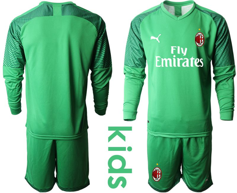 Youth 2019-2020 club AC milan green goalkeeper long sleeve Soccer Jerseys