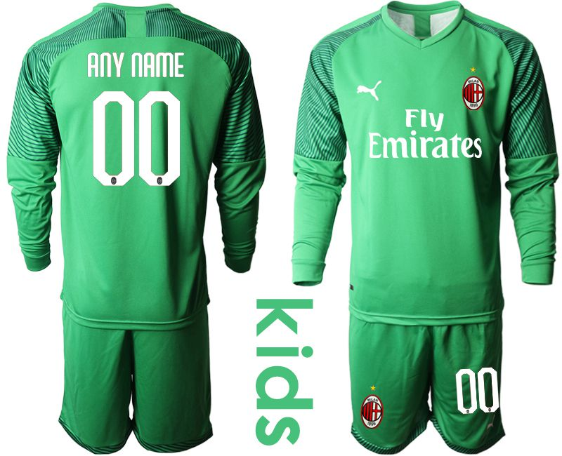 Youth 2019-2020 club AC milan green goalkeeper long sleeve customized Soccer Jerseys