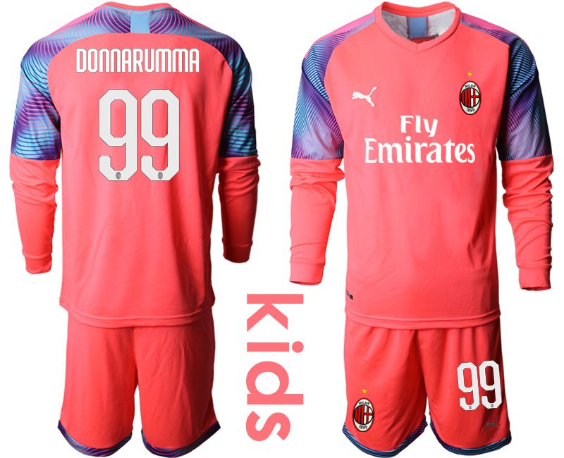 Youth 2019-2020 club AC milan pink goalkeeper long sleeve 99 Soccer Jerseys