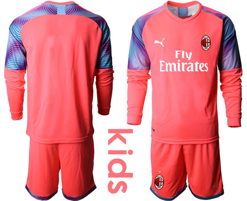 Youth 2019-2020 club AC milan pink goalkeeper long sleeve Soccer Jerseys