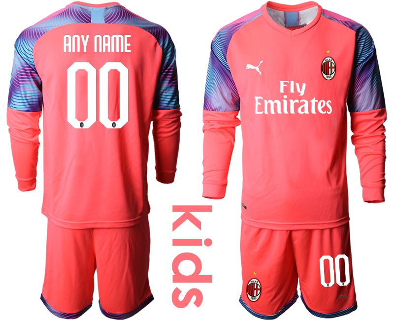 Youth 2019-2020 club AC milan pink goalkeeper long sleeve customized Soccer Jerseys