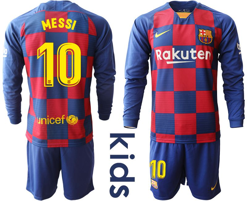 Youth 2019-2020 club Barcelona home long sleeve 10 blue Soccer Jerseys