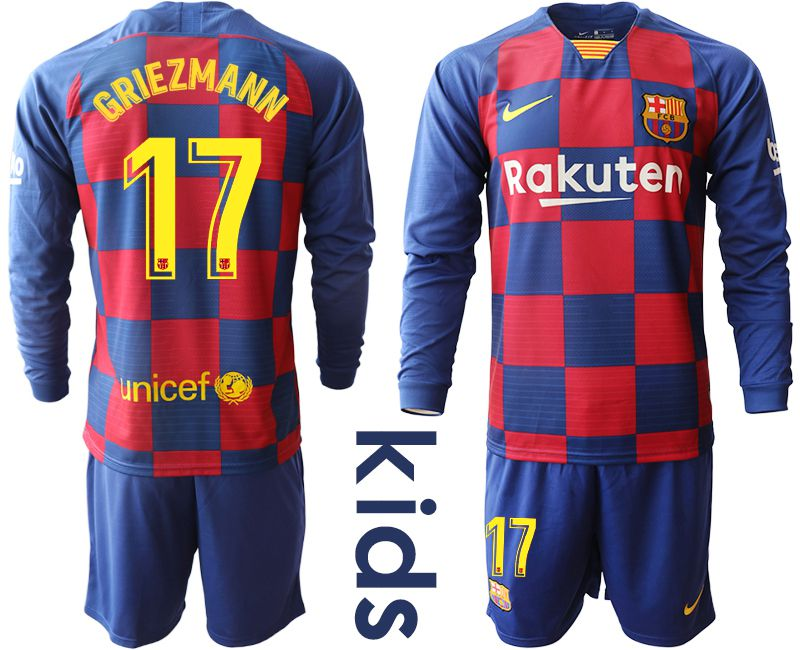 Youth 2019-2020 club Barcelona home long sleeve 17 blue Soccer Jerseys
