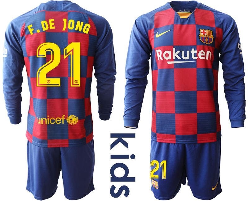 Youth 2019-2020 club Barcelona home long sleeve 21 blue Soccer Jerseys