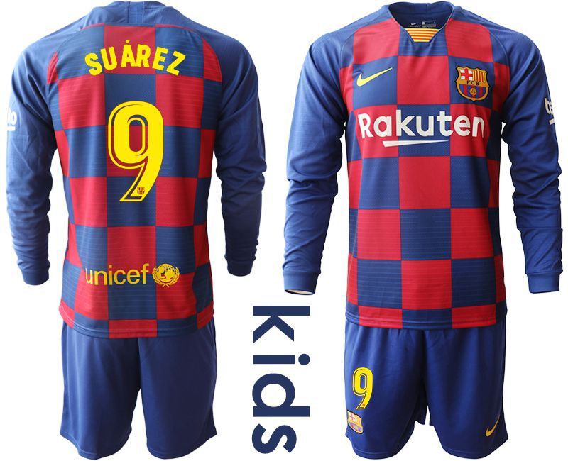 Youth 2019-2020 club Barcelona home long sleeve 9 blue Soccer Jerseys