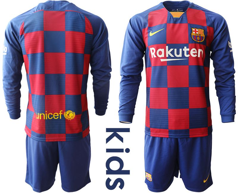 Youth 2019-2020 club Barcelona home long sleeve blue Soccer Jerseys