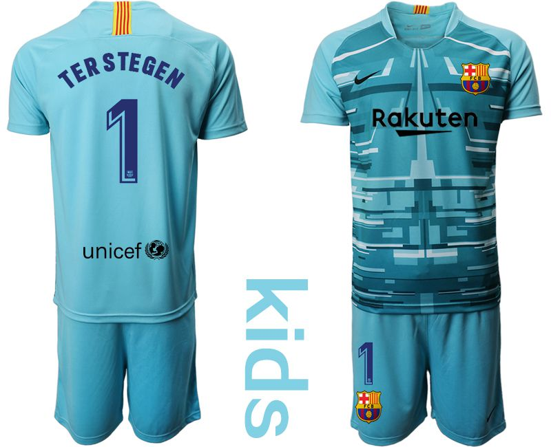 Youth 2019-2020 club Barcelona lake blue goalkeeper 1 Soccer Jerseys