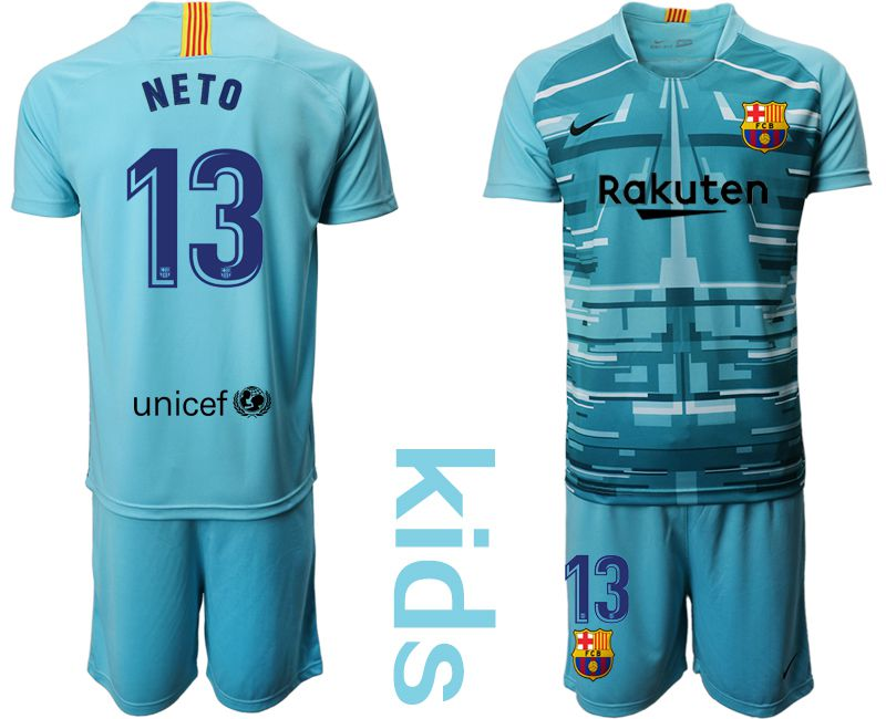 Youth 2019-2020 club Barcelona lake blue goalkeeper 13 Soccer Jerseys
