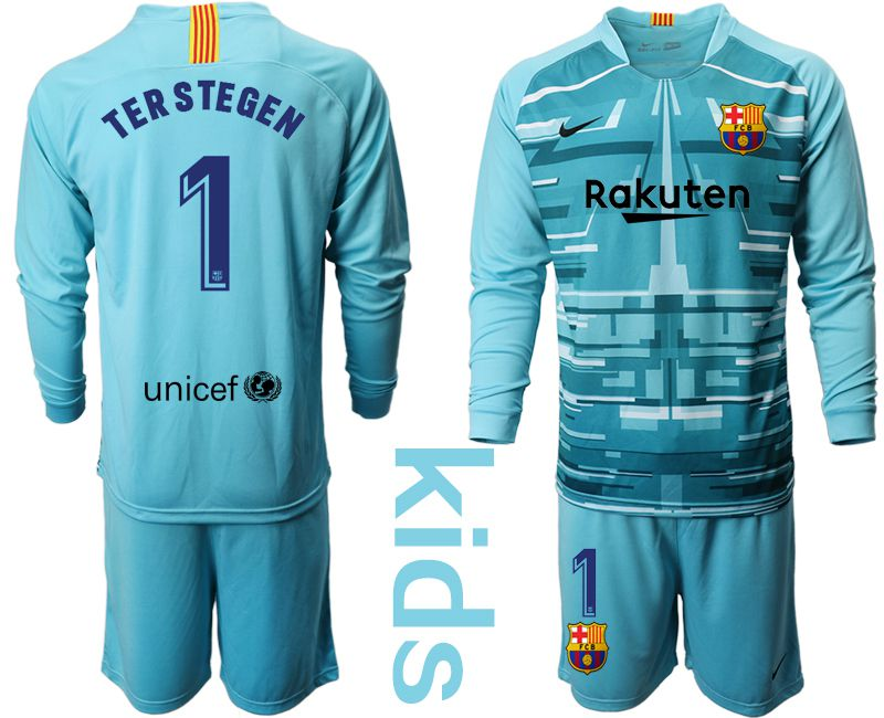 Youth 2019-2020 club Barcelona lake blue long sleeve goalkeeper 1 Soccer Jerseys