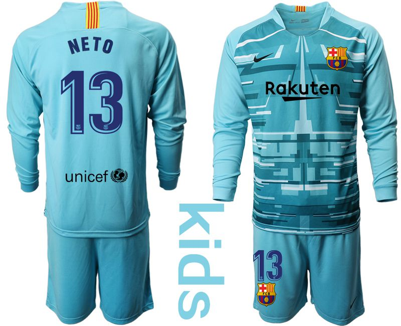 Youth 2019-2020 club Barcelona lake blue long sleeve goalkeeper 13 Soccer Jerseys