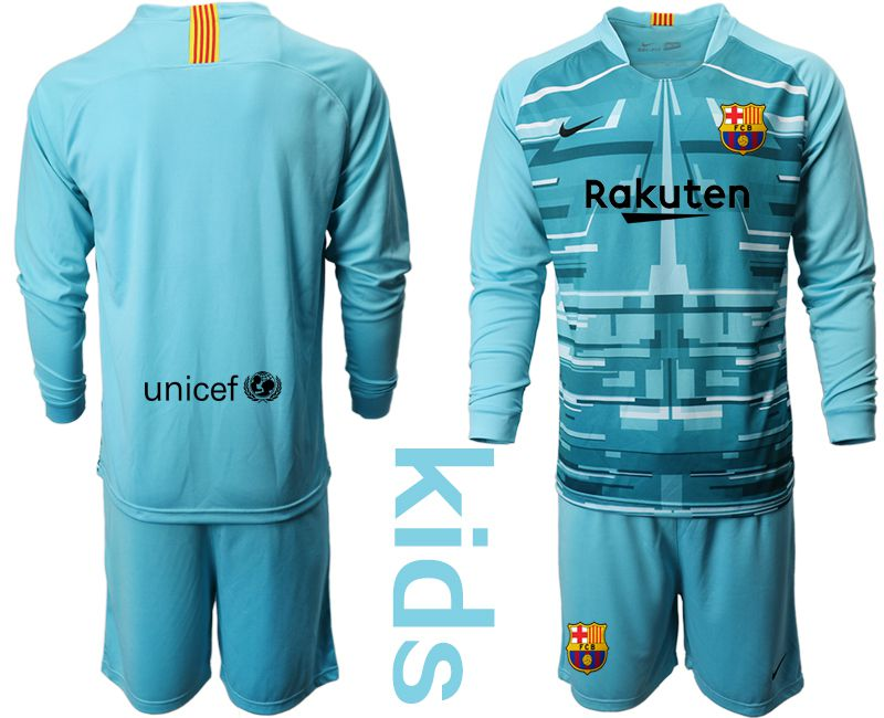 Youth 2019-2020 club Barcelona lake blue long sleeve goalkeeper Soccer Jerseys