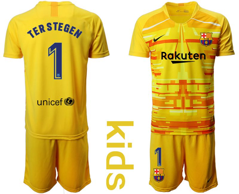 Youth 2019-2020 club Barcelona yellow goalkeeper 1 Soccer Jerseys