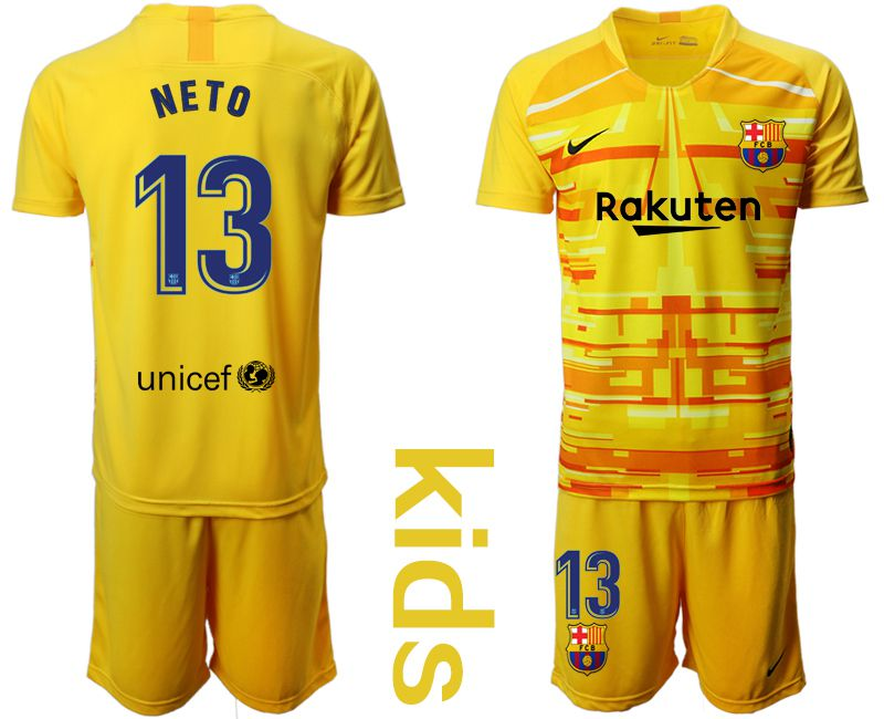 Youth 2019-2020 club Barcelona yellow goalkeeper 13 Soccer Jerseys