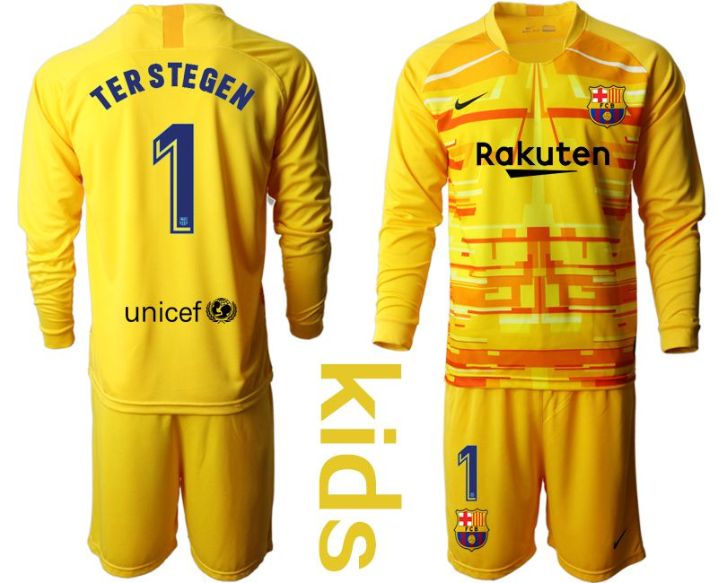 Youth 2019-2020 club Barcelona yellow goalkeeper long sleeve 1 Soccer Jerseys