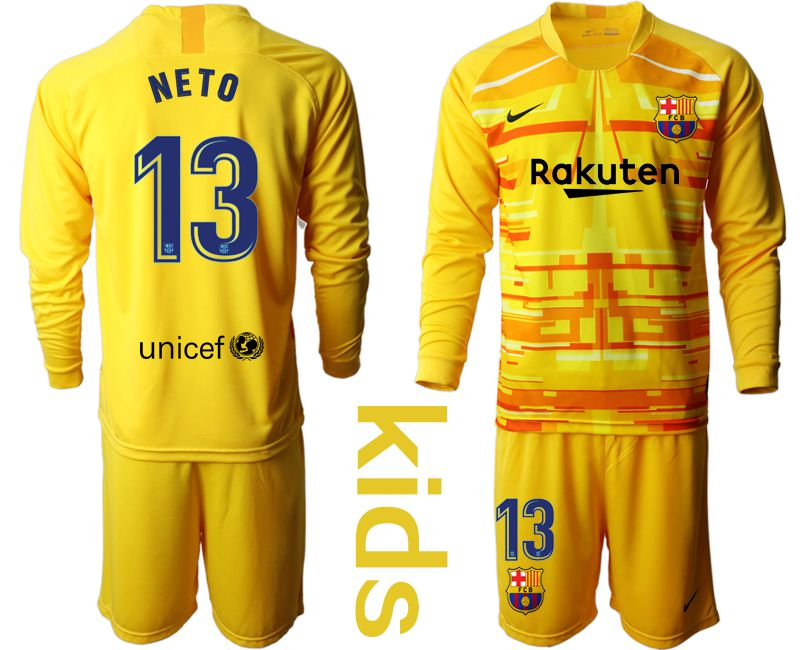 Youth 2019-2020 club Barcelona yellow goalkeeper long sleeve 13 Soccer Jerseys