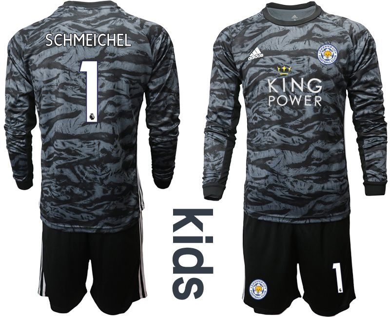 Youth 2019-2020 club Leicester City black long sleeve goalkeeper 1 Soccer Jerseys