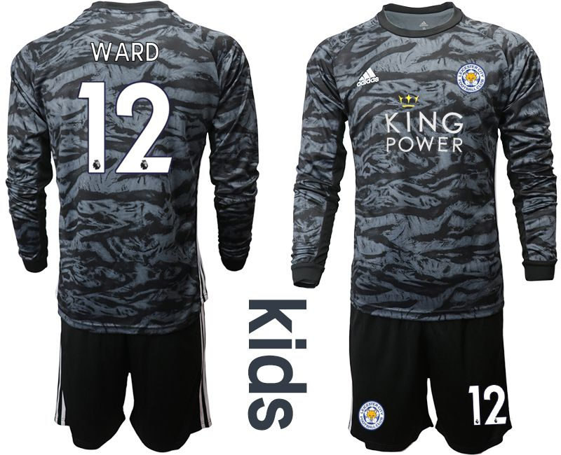 Youth 2019-2020 club Leicester City black long sleeve goalkeeper 12 Soccer Jerseys