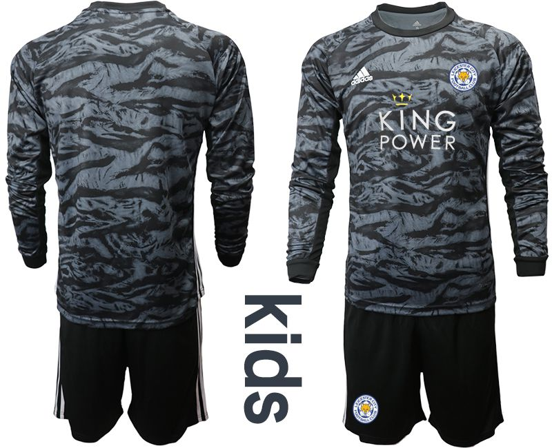 Youth 2019-2020 club Leicester City black long sleeve goalkeeper Soccer Jerseys