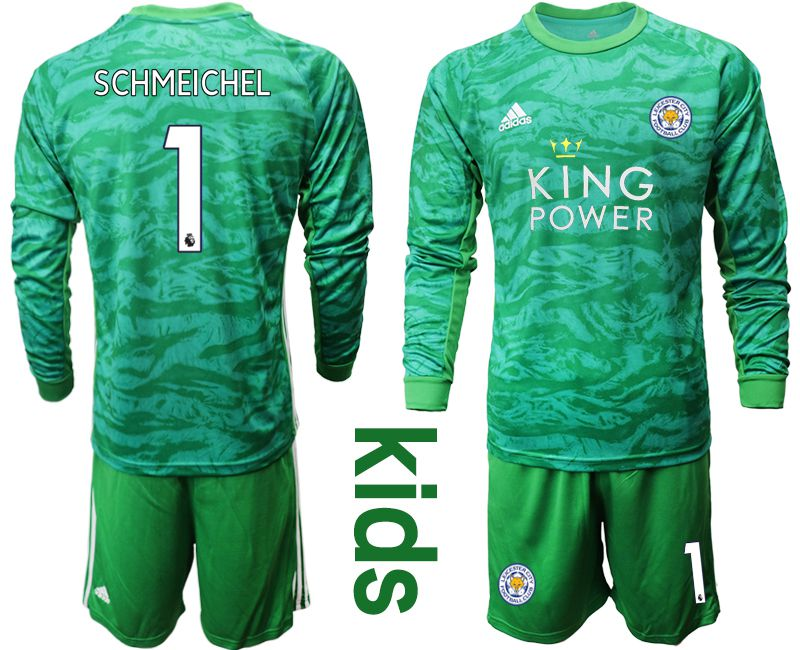Youth 2019-2020 club Leicester City green goalkeeper long sleeve 1 Soccer Jerseys