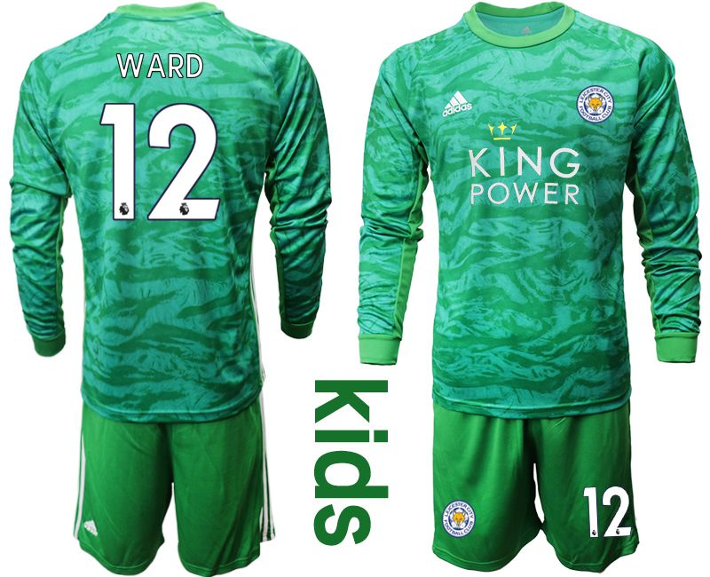 Youth 2019-2020 club Leicester City green goalkeeper long sleeve 12 Soccer Jerseys