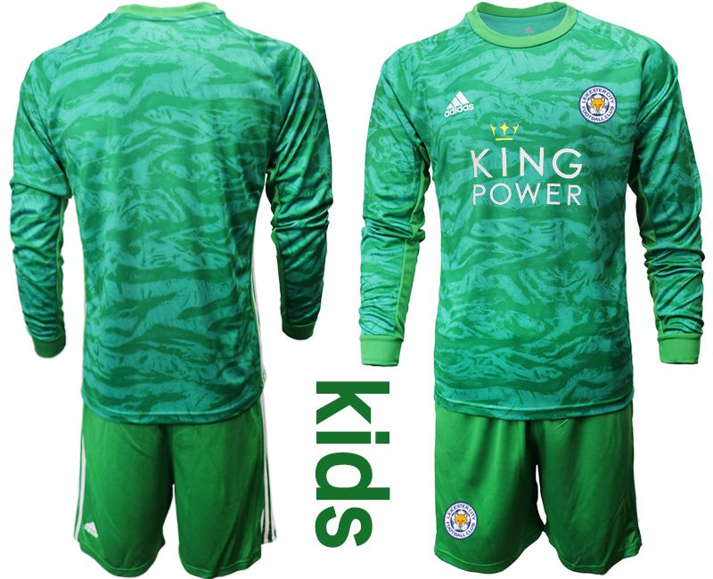 Youth 2019-2020 club Leicester City green goalkeeper long sleeve Soccer Jerseys