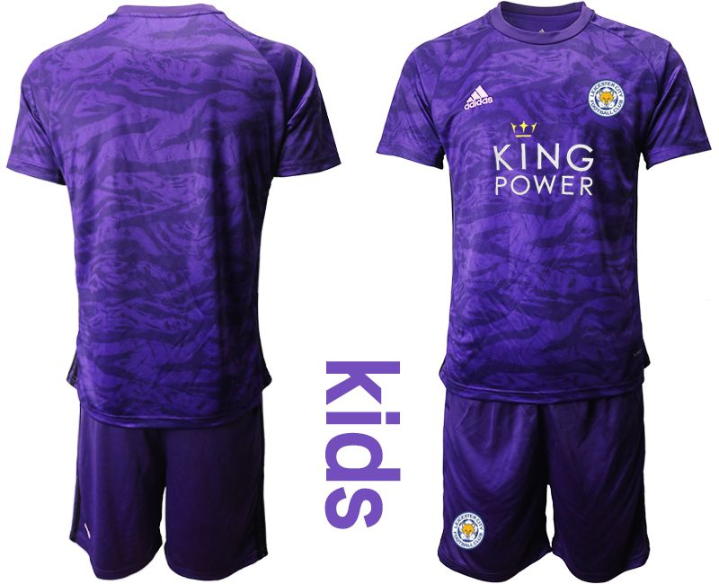 Youth 2019-2020 club Leicester City purple Goalkeeper Soccer Jersey