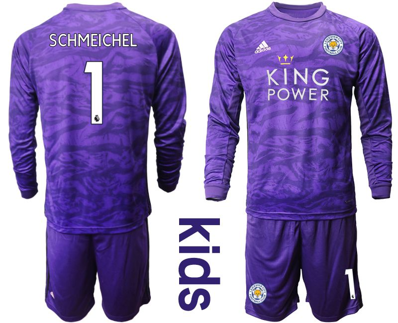 Youth 2019-2020 club Leicester City purple long sleeved Goalkeeper 1 Soccer Jersey