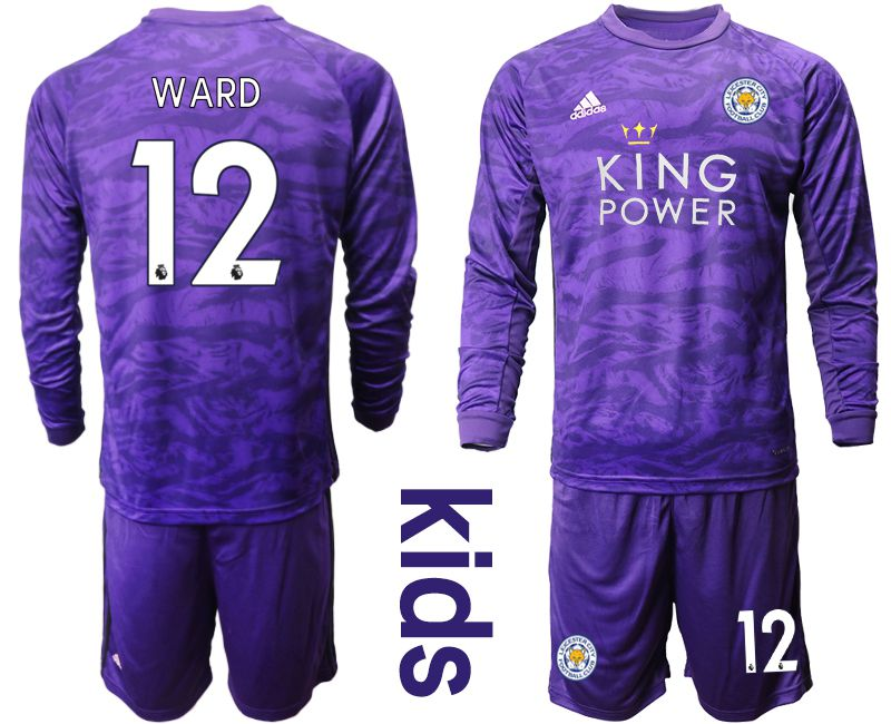 Youth 2019-2020 club Leicester City purple long sleeved Goalkeeper 12 Soccer Jersey