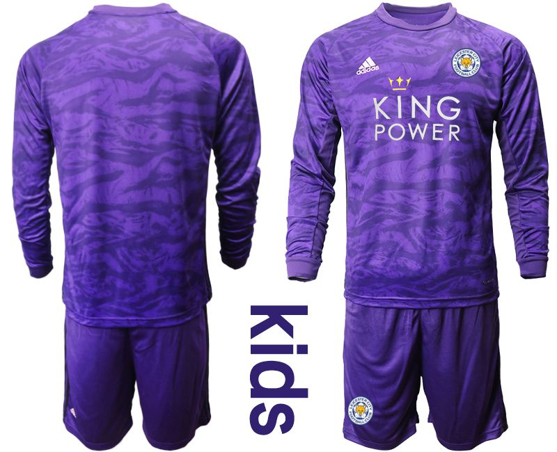 Youth 2019-2020 club Leicester City purple long sleeved Goalkeeper Soccer Jersey