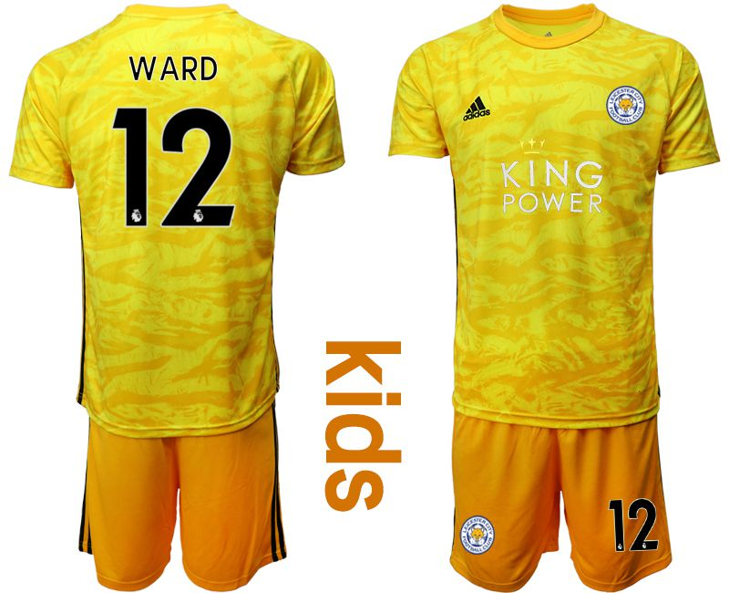 Youth 2019-2020 club Leicester City yellow goalkeeper 12 Soccer Jerseys