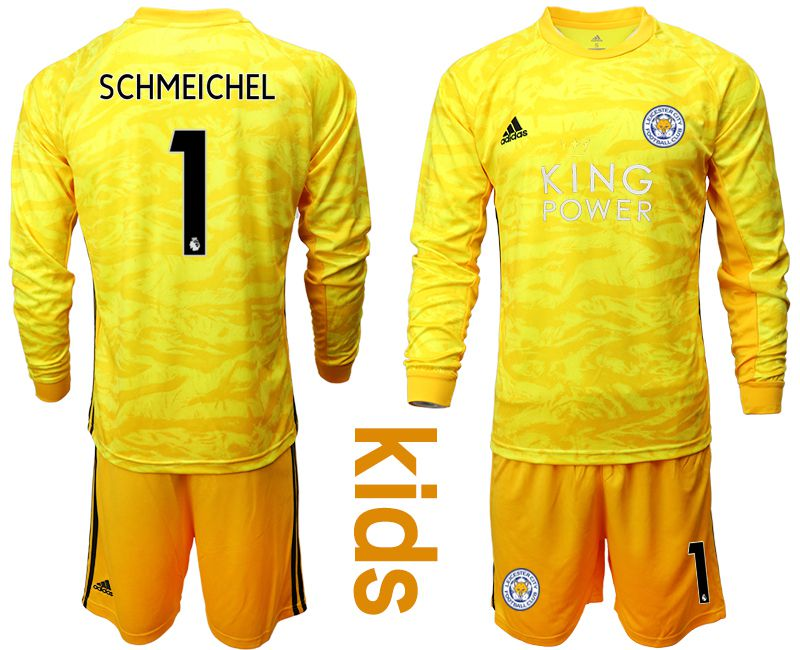 Youth 2019-2020 club Leicester City yellow goalkeeper long sleeve 1 Soccer Jerseys