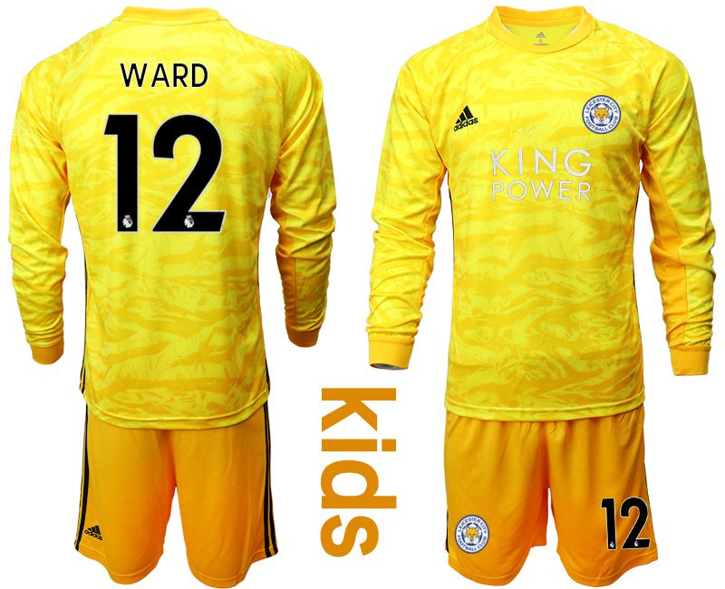 Youth 2019-2020 club Leicester City yellow goalkeeper long sleeve 12 Soccer Jerseys