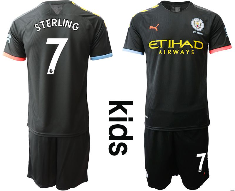 Youth 2019-2020 club Manchester City away 7 black Soccer Jerseys
