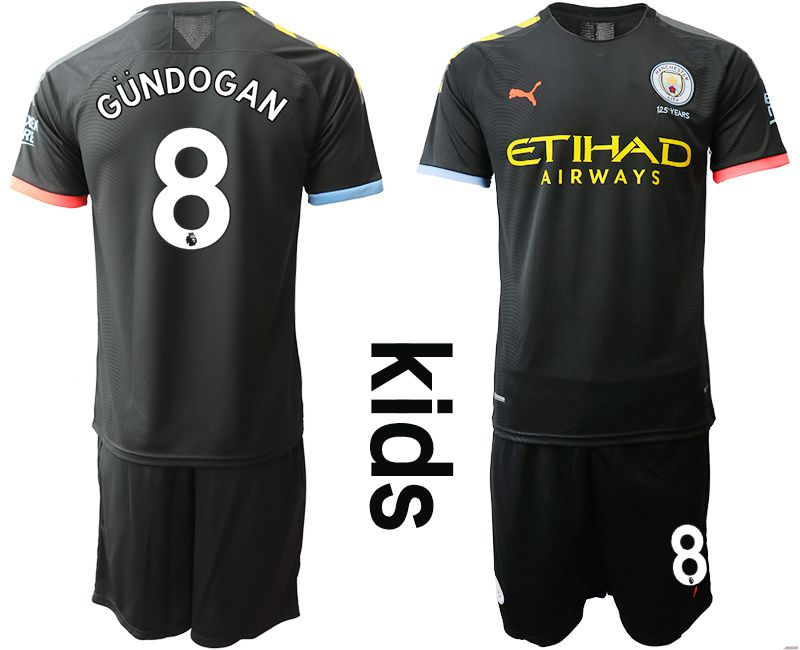 Youth 2019-2020 club Manchester City away 8 black Soccer Jerseys